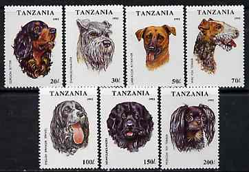 Tanzania 1993 Dogs perf set of 7 unmounted mint, SG 1681-87, Mi 1599-1605*