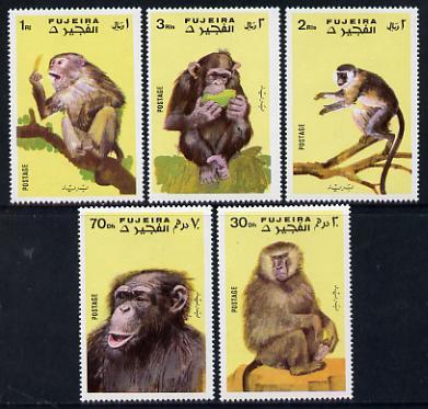 Fujeira 1971 Apes perf set of 5 unmounted mint (Mi 786-90)