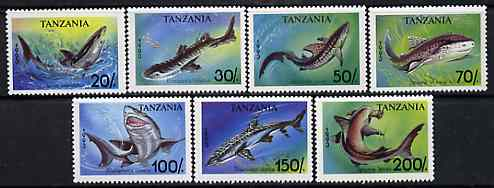 Tanzania 1993 Sharks perf set of 7 unmounted mint, SG 1665-71, Mi 1583-89*, stamps on marine life, stamps on fish, stamps on sharks