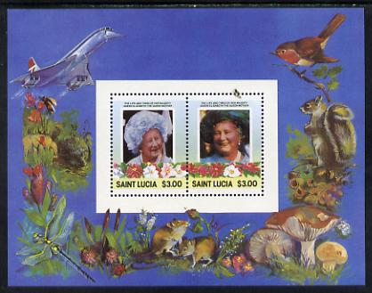 St Lucia 1985 Life & Times of HM Queen Mother m/sheet containing 2 x $3 values (depicts Concorde, Fungi, Butterflies, Birds & Animals) perf with silver (inscriptions) omitted, unmounted mint and only recently discovered