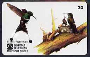 Telephone Card - Brazil 20 units phone card showing Bird (Bandeirinha Pavaozinko Coqueta Cola Raqueta) and nest with young