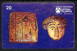 Telephone Card - Brazil 20 units phone card showing Egyptian artefact (National Museum series)