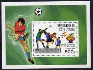 Ivory Coast 1982 World Cup Football perf m/sheet opt'd (Italie 3 - Allemagne 1) Mi BL24 unmounted mint