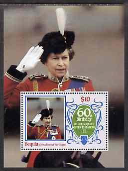 St Vincent - Bequia 1986 Queen's 60th Birthday $10 m/sheet unmounted mint