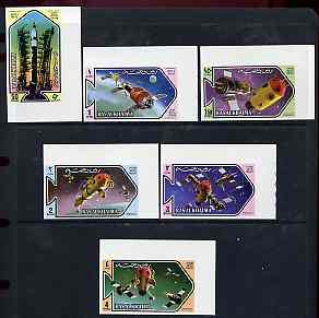 Ras Al Khaima 1971 Space Research imperf set of 6 (Mi 547-52B) unmounted mint
