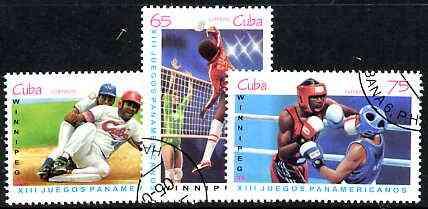 Cuba 1999 PanAmerican Games set of 3 (Boxing, Volley ball & Baseball) fine cto used
