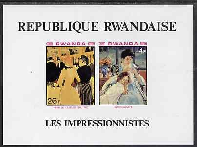 Rwanda 1980 Impressionist Paintings imperf m/sheet containing 4f (Cassat) & 26f (T-Lautrec) Mi BL 90B