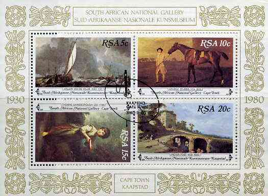 South Africa 1980 Paintings from National Gallery m/sheet very fine used with special cancellation, SG MS 485