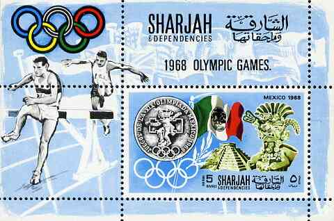 Sharjah 1968 Olympics (Medal, Mexican Art, Flag & Steeplechase) perf m/sheet unmounted mint (Mi BL 41A)