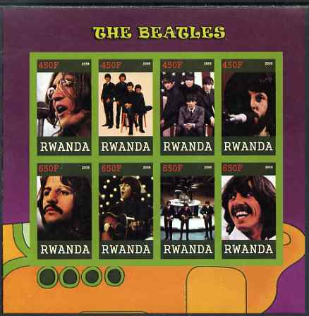 Rwanda 2009 The Beatles imperf sheetlet containing 8 values unmounted mint