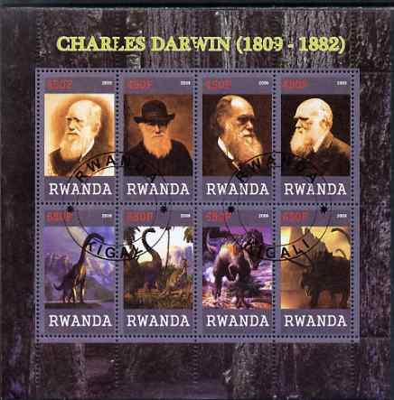 Rwanda 2009 Charles Darwin and Dinosaurs perf sheetlet containing 8 values cto used