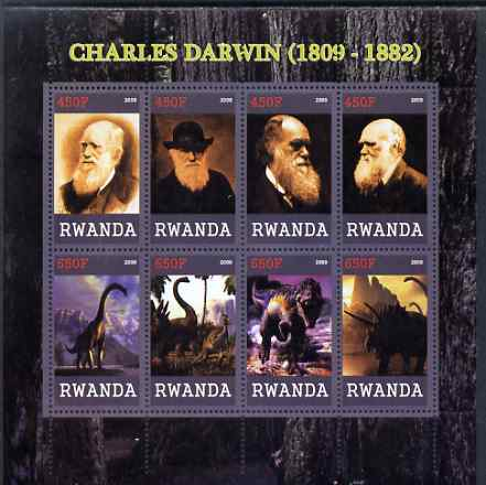 Rwanda 2009 Charles Darwin and Dinosaurs perf sheetlet containing 8 values unmounted mint