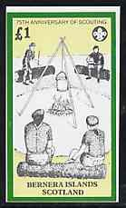 Bernera 1982 75th Anniversary of Scouting perf imperf souvenir sheet (�1 value showing Campfire) unmounted mint