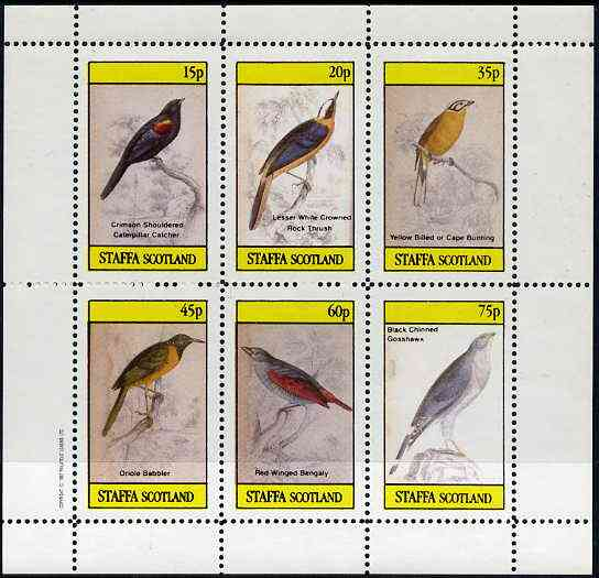 Staffa 1982 Birds #45 (Rock Thrush, Bunting, Gosshawk, etc) perf set of 6 values (15p to 75p) unmounted mint