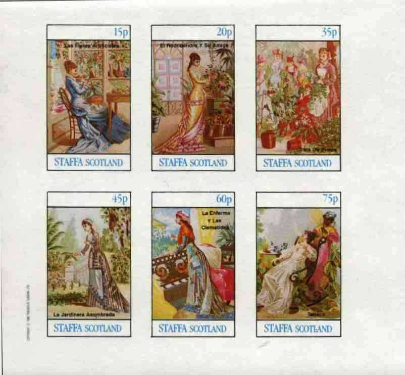 Staffa 1982 Plants & Victorian Fashions (Tobacco, Clematis, etc) imperf set of 6 values (15p to 75p) unmounted mint