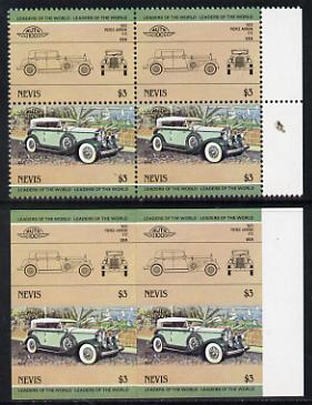 Nevis 1984 Cars #2 (Leaders of the World) $3 Pierce Arrow unmounted mint imperf block of 4 with matched normal perf block (2 se-tenant pairs as SG 209a)