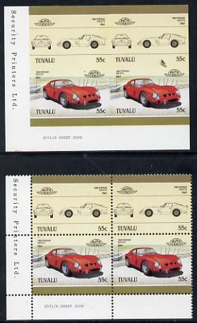 Tuvalu 1985 55c Ferrari unmounted mint imperf corner block of 4 (2 se-tenant pairs as SG 366a) with matched normal perf block
