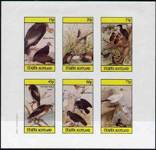 Staffa 1982 Birds #49 (Hawk, Quail & Mixed) imperf set of 6 values (15p to 75p) unmounted mint