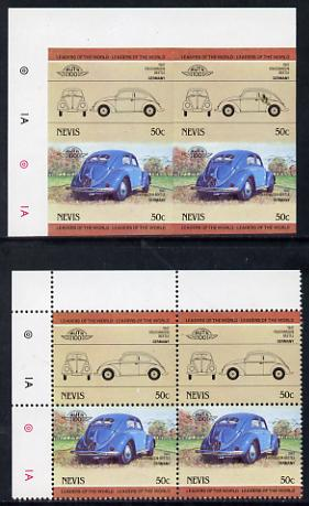 Nevis 1984 50c VW Beetle unmounted mint imperf block of 4 (2 se-tenant pairs as SG 207a) with matched normal perf block