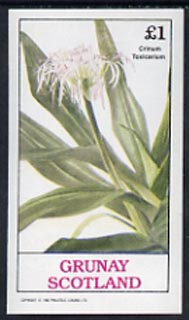 Grunay 1982 Flowers #03 (Crinum) unmounted mint imperf souvenir sheet (�1 value)