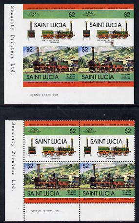 St Lucia 1984 Locomotives #2 (Leaders of the World) $2 'Der Adler 2-2-2' unmounted mint imperf corner block of 4 (2 se-tenant pairs as SG 725a) with matched normal perf block