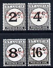 St Lucia 1967 Postage Due 2c, 4c, 8c & 16c with Statehood opts in red unmounted mint cat \A3100 (see note after SG D12)