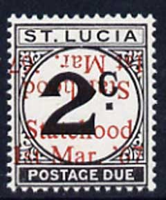 St Lucia 1967 Postage Due 2c 'Statehood' opt in red doubled (one inverted) unmounted mint