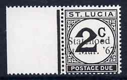 St Lucia 1967 Postage Due 2c with Statehood 1st Mar. '67 trial opt in black unmounted mint