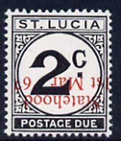 St Lucia 1967 Postage Due 2c 'Statehood' opt in red (inverted) unmounted mint