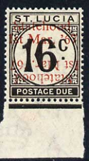 St Lucia 1967 Postage Due 16c 'Statehood' opt in red (doubled, one inverted) unmounted mint