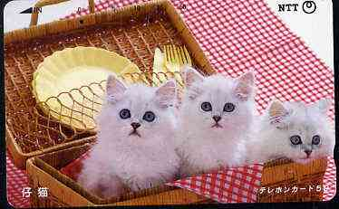 Telephone Card - Japan 50 units phone card showing Three Kittens in Basket (card dated 1.6.1989)