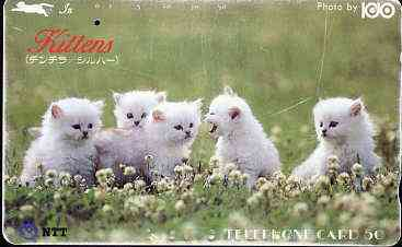 Telephone Card - Japan 50 units phone card showing Five White Kittens in Field (card dated 1.11.1988)
