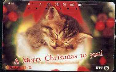 Telephone Card - Japan 105 units phone card showing Sleeping Kitten with 'A Merry Christmas To You' (card dated 19.10.1992)