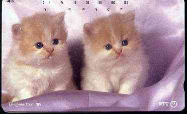 Telephone Card - Japan 105 units phone card showing Two Kittens in Silk Bed (card dated 20.7.1992)