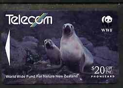 Telephone Card - New Zealand $20 phone card showing Hooker's Sea Lion (WWF series)