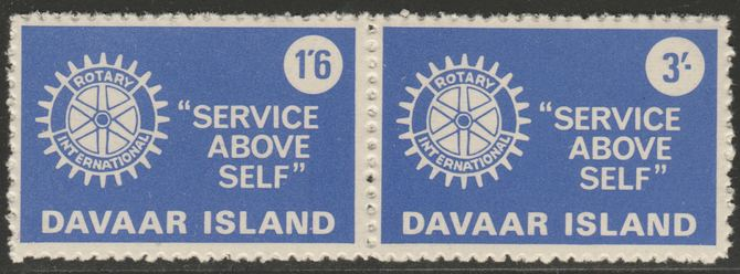 Davaar Island 1965 Rotary Clubs se-tenant perf set of 2 (1s6d & 3s red) unmounted mint