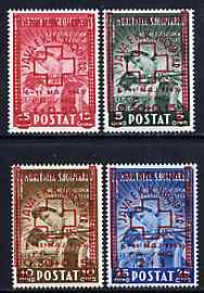 Albania 1945 Red Cross surcharged set of 4 unmounted mint, SG 425-28, Mi 375-378