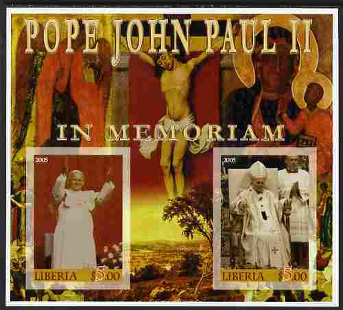 Liberia 2005 Pope John Paull II in Memoriam #02 imperf sheetlet containing 2 values unmounted mint