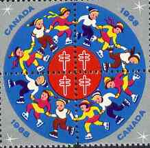 Cinderella - Canada 1968 Christmas TB Seals, fine unmounted mint se-tenant block of 4