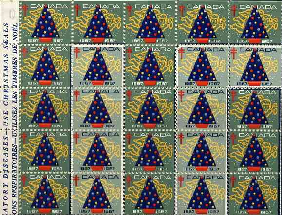 Cinderella - Canada 1967 Christmas TB Seals, unmounted mint sheet of 100 (Christmas Tree design outlined to show the number '100') sheet folded