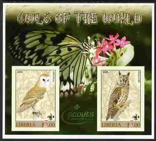 Liberia 2005 Owls of the World imperf sheetlet containing 2 values unmounted mint (Butterfly & Scouts Logo in background)