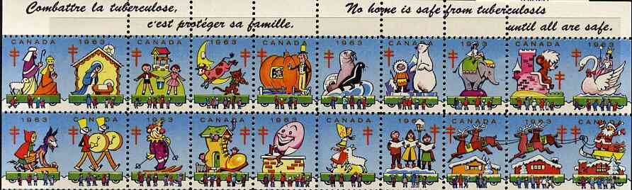Cinderella - Canada 1963 Christmas TB Seals, set of 16 in fine unmounted mint se-tenant strips (Christmas scenes & Pantomime characters)