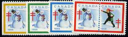 Cinderella - Canada 1958 Christmas TB Seals, fine unmounted mint set of 8 (4 se-tenant pairs)