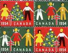 Cinderella - Canada 1954 Christmas TB Seals, fine unmounted mint se-tenant block of 4