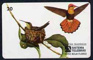 Telephone Card - Brazil 20 units phone card showing Bird (Beija Flor Vermelho Colibri Rubi) and nest with young