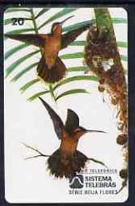 Telephone Card - Brazil 20 units phone card showing Bird (Balance Rabo Canela) and nest with young