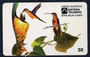 Telephone Card - Brazil 20 units phone card showing Bird (Rabo Branco Besourinho Da Mata Marronzinho) and nest with young