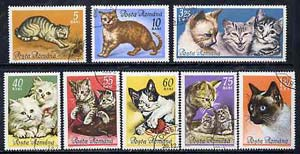 Rumania 1965 Domestic Cats set of 8 cto used, SG 3255-62, Mi 2387-94