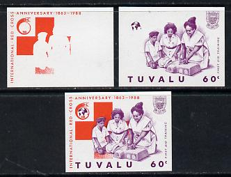 Tuvalu 1988 Red Cross 60c unmounted mint set of 3 progressive proofs comprising the 2 individual colours plus the composite as issued (but imperf)*