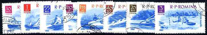Rumania 1962 Boating & Sailing perf set of 8 cto used, SG 2918-25, Mi 2056-64, stamps on ships, stamps on sport, stamps on yachts, stamps on sailing